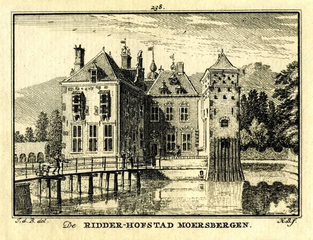 Kasteel Moersbergen in Doorn. Tekening Jan de Beijer, gravure Hendrik Spilman (Uit: Het Verheerlykt Nederland, Isaac Tirion, 1745/1774)